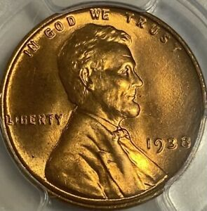 1938-P Lincoln Cent PCGS MS66RD Red Wheat Penny Gem UNC