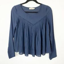 Elodie Blouse Navy Blue Pleated Baby Doll Style Semi Sheer Top Career Casual S
