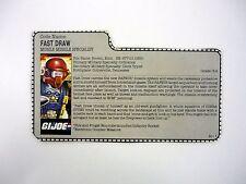 GI JOE FAST DRAW FILE CARD Vintage Action Figure AWESOME SHAPE 1987