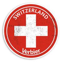 2 x 10cm Verbier Switzerland Vinyl Stickers - Swiss Flag Luggage Sticker #30231