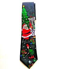 Hallmark Christmas Golfing Tie Santa Elf Navy Polyester Embossed Candy Canes NWT