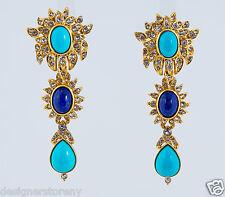 Ben-Amun Triple Stones Earrings Turquooise/Blue Stones #16108