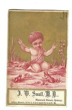 Old Trade Card Doctor J. W. Small M.D. Hancock St Quincy MA Office Hours Skunks