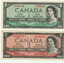 Bank of Canada 1954 $1 & $2 Notes Beattie Rasminsky Bill Lot Nice