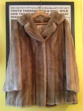 Vintage 1960s French TISSAVEL Taupe Beige FAUX FUR Jacket Coat M- L 14 16