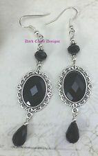 Classic Drop Dangle Victorian Vintage Gothic Jewelled Earrings Black Red Purple