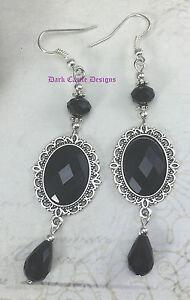 Classic Drop Dangle Victorian Vintage Goth Jewel Earrings Black Red Purple Green