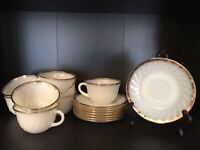 Set of 8 Anchor Hocking Fire-King White Swirl Gold Rim Tea Cups With Saucers