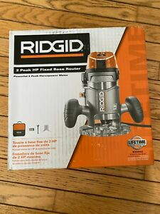 RIDGID R22002 11 Amp 2 HP 1/2 In. Corded Fixed Base Router Kit + Extras