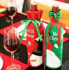 2Pcs Wine Bottle Cover Xmas Santa Table Decor Christmas Bottle Party Gift decor