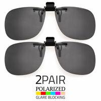2Pcs Large Polarized Lens Glare Block Clip On Flip Up Sunglasses Glasses Driving