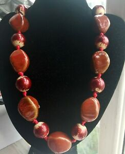 """20""""-24"""" Barrel Red Chinese ceramic beaded,wood knotted necklace,Rope A5"""