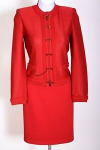 ST.JOHN Womens Suit Knit Red Metallic Shimmer Trim Zip Jacket & NWT Skirt Sz 4