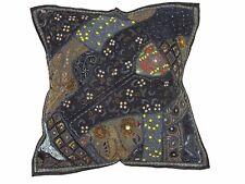 """Black Designer Tapestry Floor Pillow Cover Ethnic Sari Patchwork Euro Sham 26"""""""