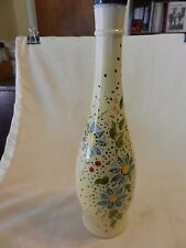 Hand Painted Wine Bottle, Cream with Blue, Yellow Green Flowers Can Hold Candle