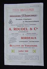 Catalogue tarif 1910 ROUDEL à Bordeaux Droguerie Drugstore Eisenwarengeschäft
