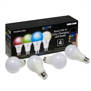 Geeni Prisma 1050 Wi-Fi Color Enhancing + White LED Smart Bulb 4-Pack- Dimmable