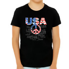 4th of July Shirts for Boys USA Shirt Patriotic Shirts for Boys Peace Sign US Fl
