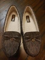 Michael Kors Loafers Womens Brown MK Logo EVERETT Shearling Moccasin 7.5 US NEW