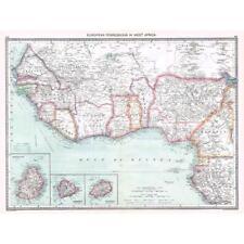 Antico Mappa 1906-POSSEDIMENTI EUROPEI in Africa occidentale-harmsworth ATLAS