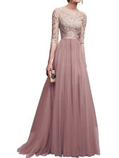 Womens Pink Pretty Long Bridesmaid Dress Party Dresses Formal Wedding Dresses