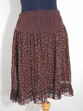 Motherhood Maternity Brown Polka Dot Chiffon Ruffled Skirt Stretchy Waist Size S
