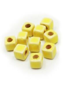 Ceramics Cube 5mm Pastel Yellow 10 Piece Enamel ceramic beads