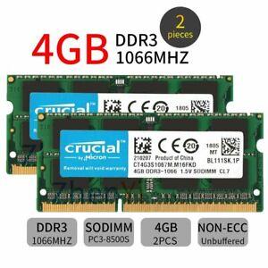 8GB 2x 4GB / 2GB DDR3 1066MHz PC3-8500S 1.5V SO-DIMM Laptop RAM For Crucial Lot