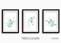 Eucalyptus Prints Set of 3 Botanical Leaves Wall Art Decor Green Watercolour