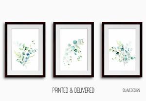 Eucalyptus Prints Set of 3 Botanical Leaves Wall Art Decor Green Watercolour