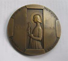 1933 Belgium bronze Art Deco medal St. Louis Institute Joan Of Arc by Rau