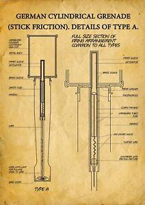 Stielhandgranate M24 Print Potato Masher German WWII WW2 Stick Hand Grenade Nazi