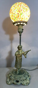 Antique VICTORIAN GAS Type MUSICIAN STATUE Old LAMP End of the Day GLASS GLOBE