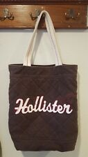 Hollister Quilted Tote Bag Brown Canvas Pockets Red White Logo