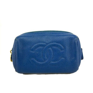 CHANEL CC Logo Blue Caviar Skin Mini Pochette Cosmetics Pouch /B1750