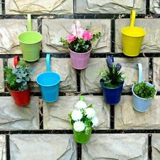 40Pack Metal Flower Pot Colorful Balcony Garden Wall Fence Hanging Plant Planter