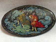 Russian Brooch Pin VTG Papier Mache Black Lacquer Signed FairyTale Hand Painted