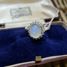 MOONSTONE AND TOPAZ STERLING SILVER RING, PRINCESS RING, SIZE O, NEW