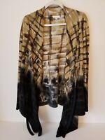 Adore Women's Draped Open Tie Front Long Asymmetrical  Sweater Sz L Brown Black