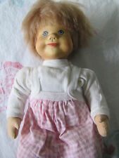 """Rare German Krahmer Wooden Head Baby Doll with Cloth Body ~13"""" tall"""