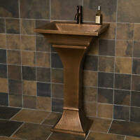 "Signature Hardware 262515 20"" Copper Pedestal Bathroom Sink - Copper"