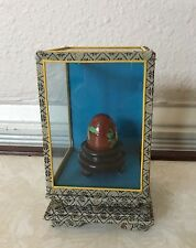 VINTAGE CHINA CHINESE CLOISONNE ENAMEL BRONZE FLORAL EGG IN GLASS CASE And Stand
