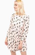 PAUL & JOE SISTER pale pink kitty cat print pattern ruffle tunic dress 38 10 6