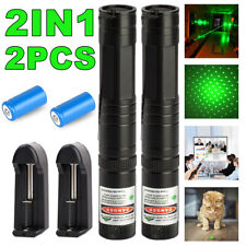 2Pc Rechargeable 990miles Green Laser Pointer Star Light Beam Lazer+Battery Set