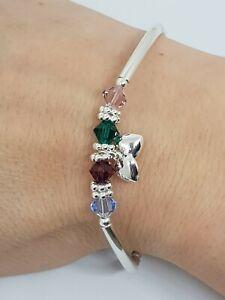 Sterling Silber Perlen Swarovski Familie Geburtsstein Stretch Armband