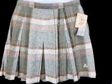 LE COQ SPORTIF Ladies Muted Plaid Pleated Tennis Skirt Sz 12 Linen Cotton Blend