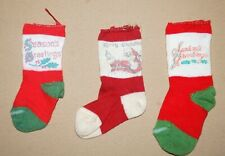 "3 Old Antique Merry Christmas Santa Claus Stocking Socks Small 4.5"" & 5.5"""