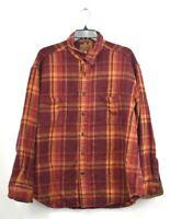 St Johns Bay Mens Orange Plaid Button Front Long Sleeve Brawny Flannel Shirt XL