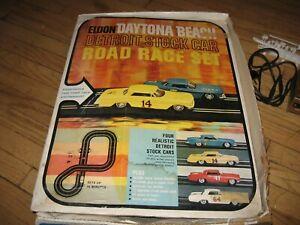 Eldon Daytona Beach Detroit Stock Slot Road Race Set with box 1963 Tested WORKS