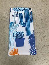 Sunglass / Eyeglass Soft Fabric Case - Fun Blue Cactus on White Background